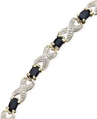 Victoria Townsend 18K Gold Over Sterling Bracelet 8.5 Sapphire 5 1 4 Ct. T.W. And Diamond Accent Bracelet