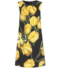 Dolce And Gabbana Floral Printed Wool Crepe Shift Dress Black