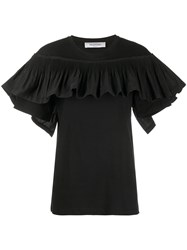 Valentino Ruffle Panel Short Sleeve Top Black