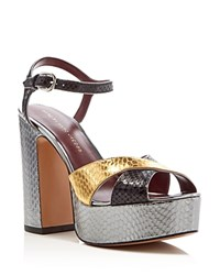 Marc By Marc Jacobs Jerry Snake Embossed Metallic High Heel Platform Sandals Gold
