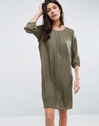 B.Young 3 4 Sleeve Shift Dress Dusty Olive Green