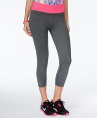 Jessica Simpson The Warm Up Juniors' Cropped Active Leggings Only At Macy's Harvard Grey With Pink Highlight