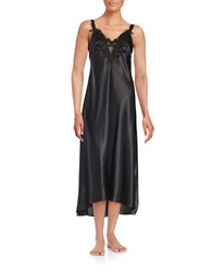 Flora Nikrooz Satin Embroidered Nightgown Black