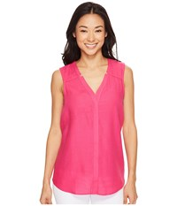 Hatley Split Neck Blouse Fuchsia Women's Blouse Pink