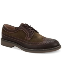 Bass Pearson Wing Tip Oxfords Men's Shoes Brown Olive