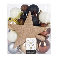 Amara Set Of 33 Assorted Baubles And Tree Topper Beige Rosewood Black
