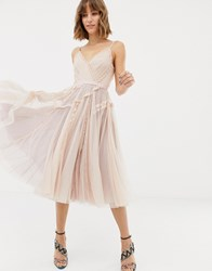 Needle And Thread Tulle Cami Skater Dress In Rose Rose Quartz Pink