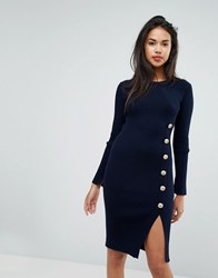 Morgan Knitted Dress With Military Button Detail Navy