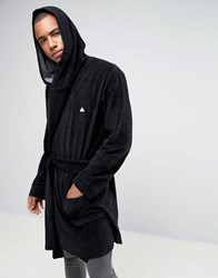 Asos Towelling Dressing Gown With Logo Black
