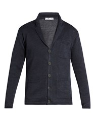 Inis Meain Button Through Linen Cardigan Navy