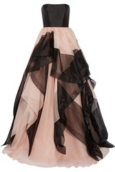 Reem Acra Strapless Layered Silk Faille And Tulle Gown Antique Rose
