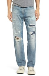 True Religion Men's Big And Tall Brand Jeans Geno Straight Leg Jeans Dqhm Patched Wanderer