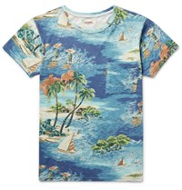 Kapital Slim Fit Printed Cotton Jersey T Shirt Blue