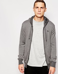 Ringspun Stripe Zip Through Hoodie Cardigan Grey