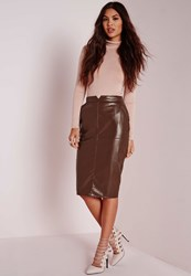 Missguided Back Split Faux Leather Midi Skirt Brown