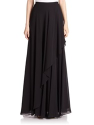 Teri Jon By Rickie Freeman Chiffon Asymmetrical Maxi Skirt Black