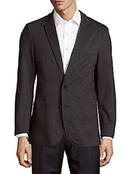 Saks Fifth Avenue Black Woven Long Sleeve Jacket Dark Blue
