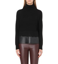 Karen Millen Merino And Faux Leather Turtleneck Jumper Black
