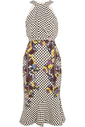 Saloni Ruby Embellished Printed Silk Midi Dress White