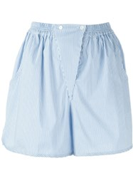 Jil Sander Navy Striped Panel Detail Shorts Blue