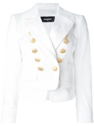 Dsquared2 Layered Double Breasted Blazer White