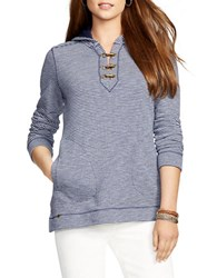 Lauren Ralph Lauren Striped French Terry Lace Up Hoodie