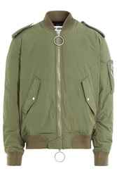Off White Bomber Jacket With Back Print Green