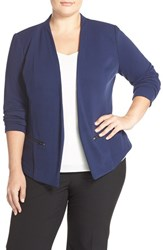 Plus Size Women's Sejour 'Jetsetter' Ottoman Knit Jacket Navy Peacoat