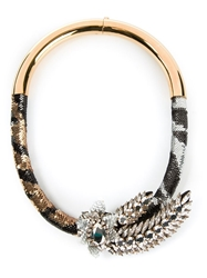 Shourouk 'Tiger Comet' Necklace Brown