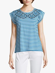 Betty Barclay Striped Cut Out Cap Sleeve Top Blue White