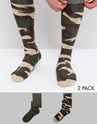 Asos Festival Welly Socks With Camo Design 2 Pack Green