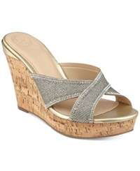 Guess Eleonora Platform Wedge Slide Sandals Women's Shoes Silver Metallic