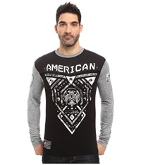 American Fighter Blue Mountain Long Sleeve Football Crew Black Heather Grey Reflective Men's Clothing