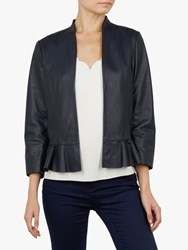 Ted Baker Febbe Leather Frill Jacket Blue Navy