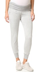 Beyond Yoga Fold Over Maternity Sweatpants Heather Grey