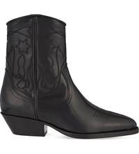 Sandro Jim Stitch Detail Leather Ankle Boots Black