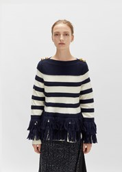 Sacai Fringe Knit Pullover Navy Off White