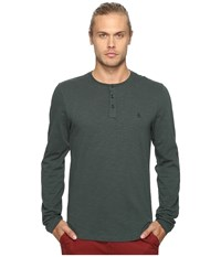Original Penguin Long Sleeve Sueded Slub Henley Darkest Spruce Men's Long Sleeve Pullover Green
