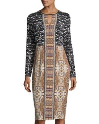 Maggy London Mixed Print Long Sleeve Jersey Midi Dress Yellow Tur
