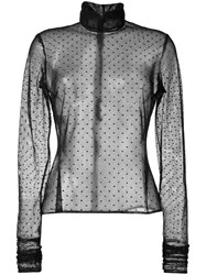 Elie Saab Sheer Polka Dot Blouse Black
