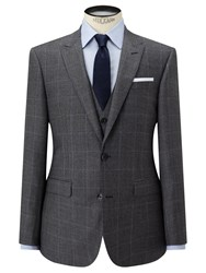 John Lewis Check Super 100S Wool Tailored Fit Suit Jacket Grey