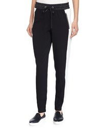 Philosophy Crepe Skinny Pants W Faux Leather Waist Black Whit