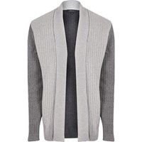 River Island Mensgrey Contrast Ribbed Knit Cardigan