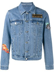 Kenzo Embroidered Patch Denim Jacket Men Cotton Xs Blue