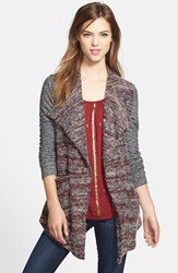 Women's Lucky Brand Mixed Knit Drape Front Cardigan