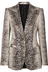 Tom Ford Snake Print Cotton Blend Twill Blazer Brown