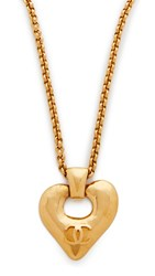 Wgaca Chanel Heart Pendant Necklace Previously Owned Gold