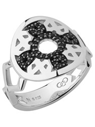 Links Of London Timeless Sterling Silver And Black Sapphire Ring Silver