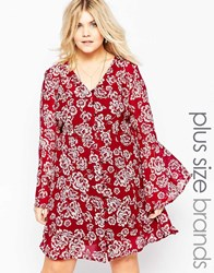 Brave Soul Plus Shift Dress With Bell Sleeves Red