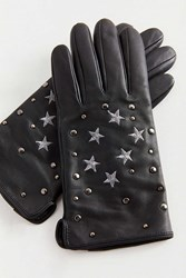 Urban Outfitters Star Embellished Leather Glove Black